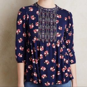 One September Anthropologie Blue Floral Top